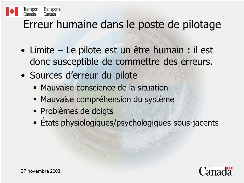 27 novembre 2003 Erreur humaine dans le poste de pilotage Limite – Le pilote est un être humain : il est donc susceptible de commettre des erreurs.