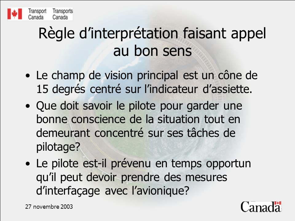 27 novembre 2003 Règle dinterprétation faisant appel au bon sens Le champ de vision principal est un cône de 15 degrés centré sur lindicateur dassiett