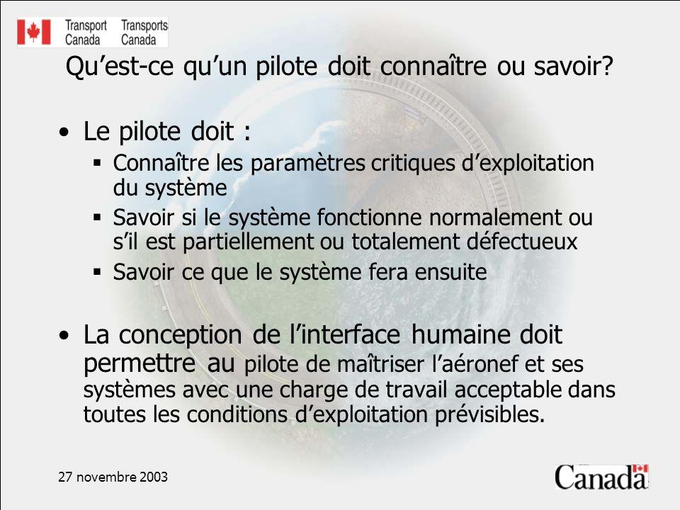 27 novembre 2003 Documents de réglementation sur les postes de pilotage Documents de référence sur les facteurs humains dans le poste de pilotage