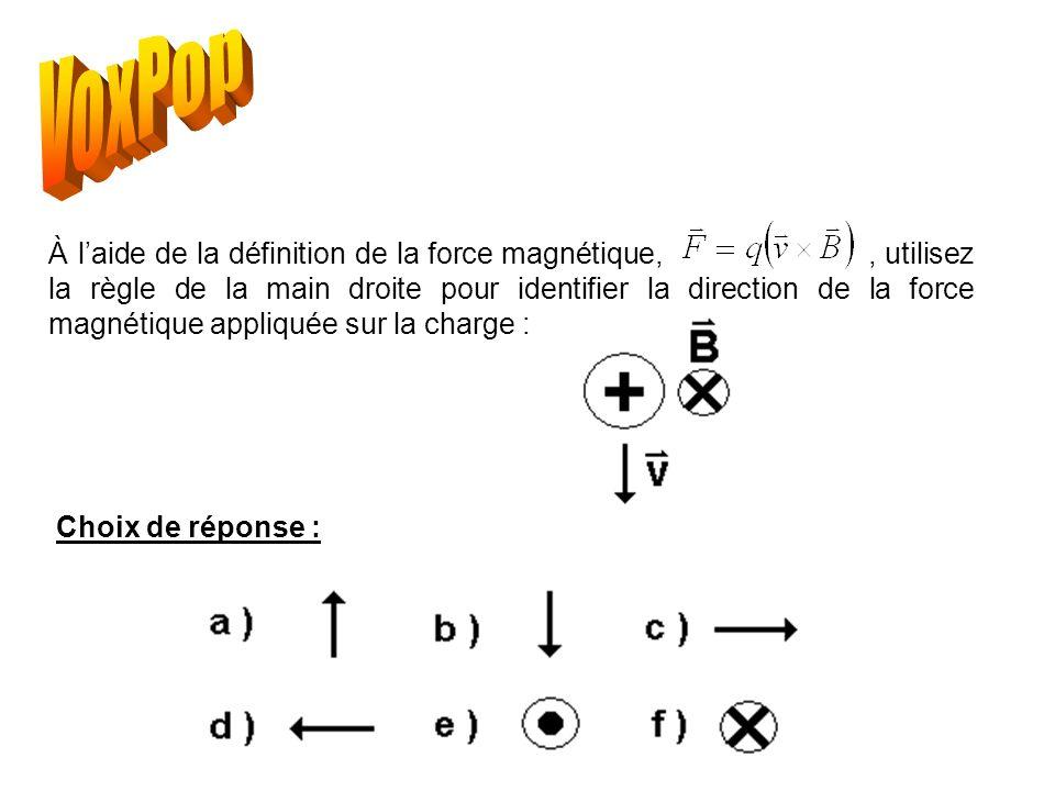 À laide de la définition de la force magnétique,, utilisez la règle de la main droite pour identifier la direction de la force magnétique appliquée sur la charge : Choix de réponse :