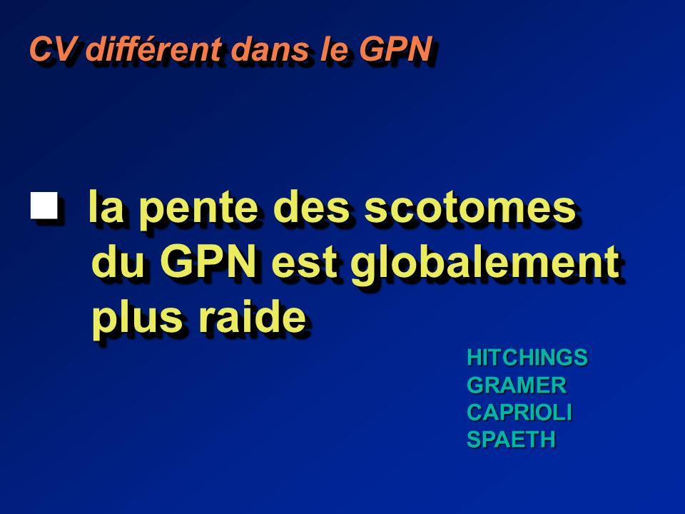CV différent dans le GPN la pente des scotomes la pente des scotomes du GPN est globalement du GPN est globalement plus raide plus raide CV différent dans le GPN la pente des scotomes la pente des scotomes du GPN est globalement du GPN est globalement plus raide plus raide HITCHINGSGRAMERCAPRIOLISPAETH