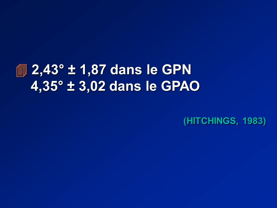 2,43° ± 1,87 dans le GPN 2,43° ± 1,87 dans le GPN 4,35° ± 3,02 dans le GPAO 4,35° ± 3,02 dans le GPAO (HITCHINGS, 1983) (HITCHINGS, 1983)