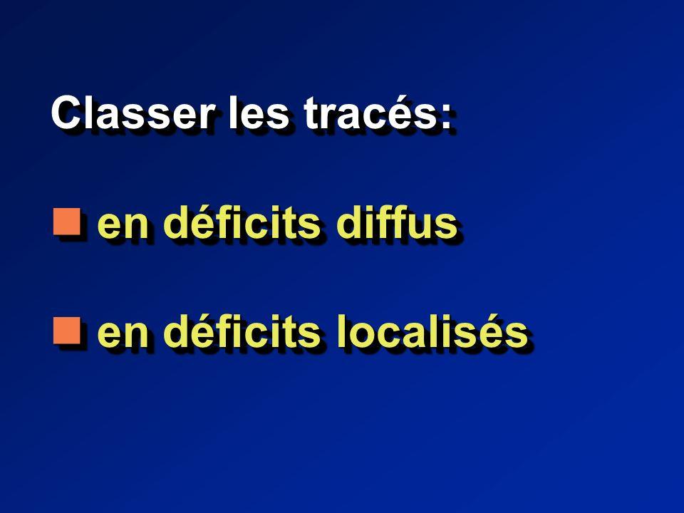 Classer les tracés: en déficits diffus en déficits diffus en déficits localisés en déficits localisés Classer les tracés: en déficits diffus en déficits diffus en déficits localisés en déficits localisés