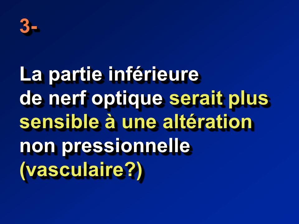 3- La partie inférieure de nerf optique serait plus sensible à une altération non pressionnelle (vasculaire?)3- La partie inférieure de nerf optique serait plus sensible à une altération non pressionnelle (vasculaire?)
