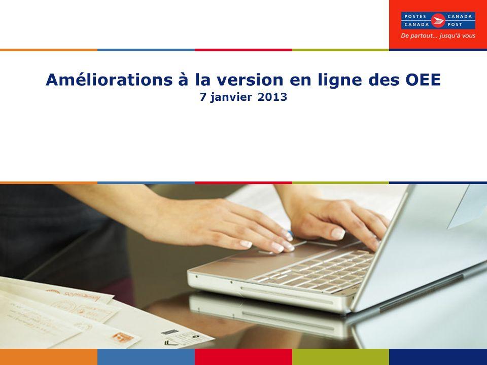 Améliorations à la version en ligne des OEE 7 janvier 2013