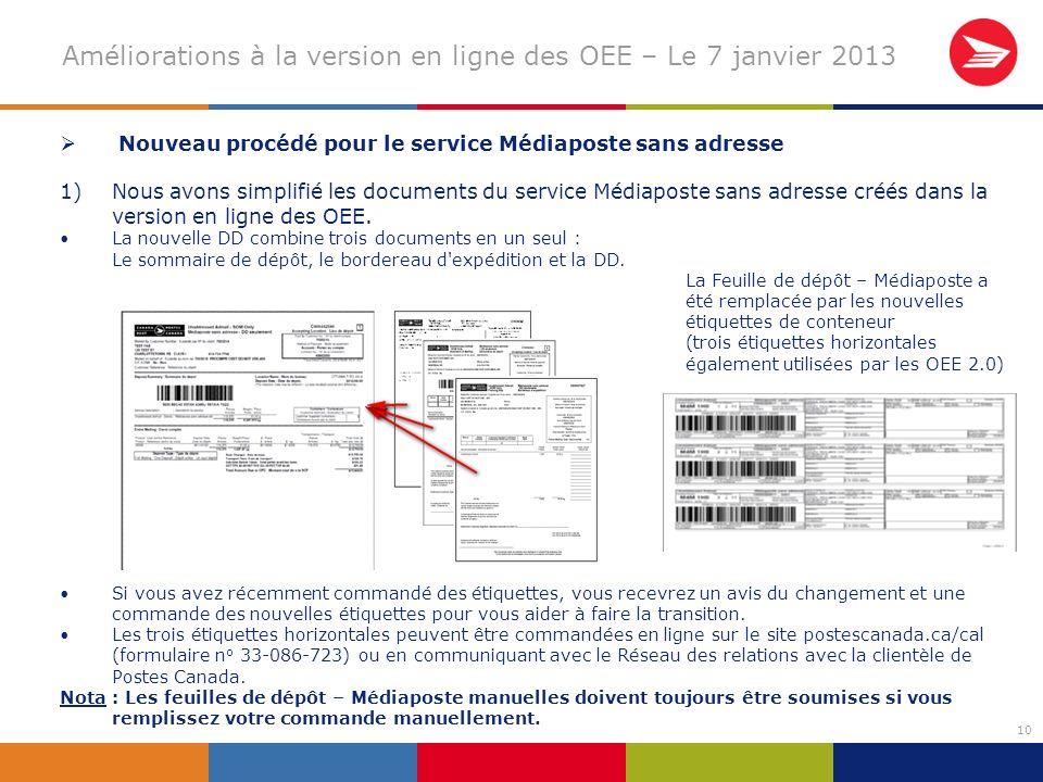 10 Améliorations à la version en ligne des OEE – Le 7 janvier 2013 Nouveau procédé pour le service Médiaposte sans adresse 1)Nous avons simplifié les documents du service Médiaposte sans adresse créés dans la version en ligne des OEE.