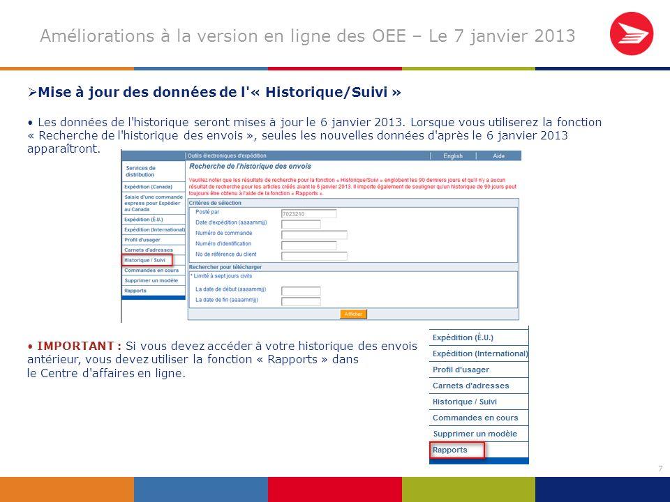7 Améliorations à la version en ligne des OEE – Le 7 janvier 2013 Mise à jour des données de l « Historique/Suivi » Les données de l historique seront mises à jour le 6 janvier 2013.