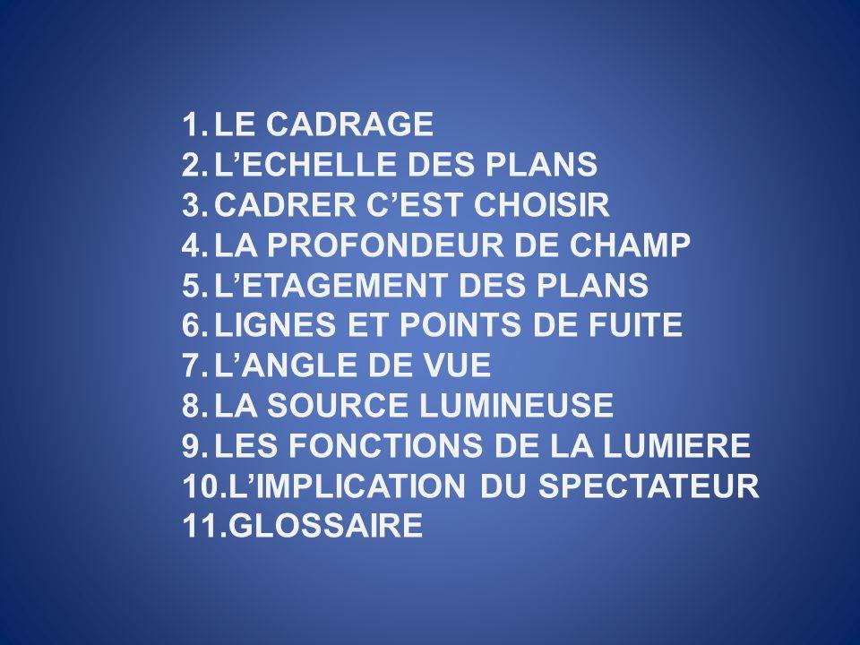1.LE CADRAGE 2.LECHELLE DES PLANS 3.CADRER CEST CHOISIR 4.LA PROFONDEUR DE CHAMP 5.LETAGEMENT DES PLANS 6.LIGNES ET POINTS DE FUITE 7.LANGLE DE VUE 8.