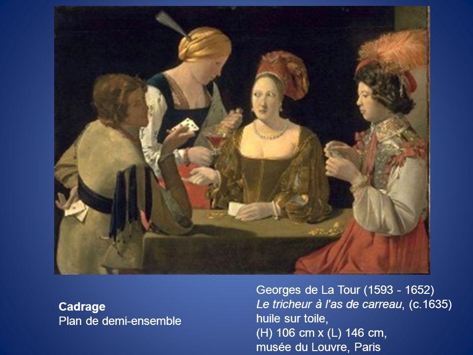 Georges de La Tour (1593 - 1652) Le tricheur à l'as de carreau, (c.1635) huile sur toile, (H) 106 cm x (L) 146 cm, musée du Louvre, Paris Cadrage Plan