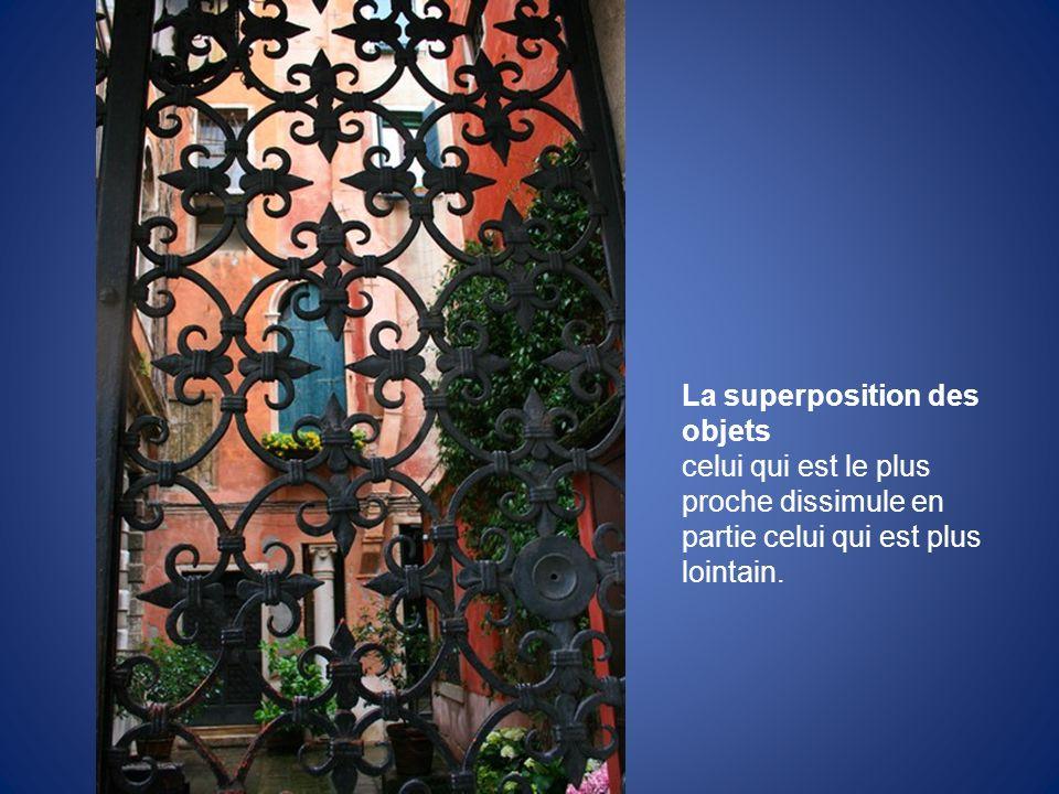 La superposition des objets celui qui est le plus proche dissimule en partie celui qui est plus lointain.
