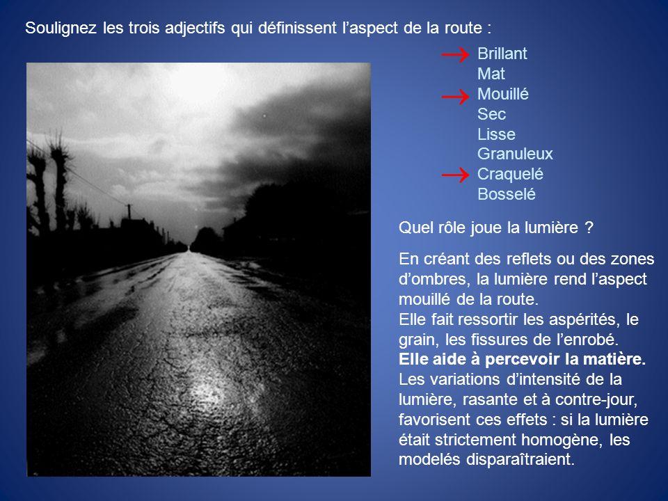 Soulignez les trois adjectifs qui définissent laspect de la route : Brillant Mat Mouillé Sec Lisse Granuleux Craquelé Bosselé Quel rôle joue la lumièr