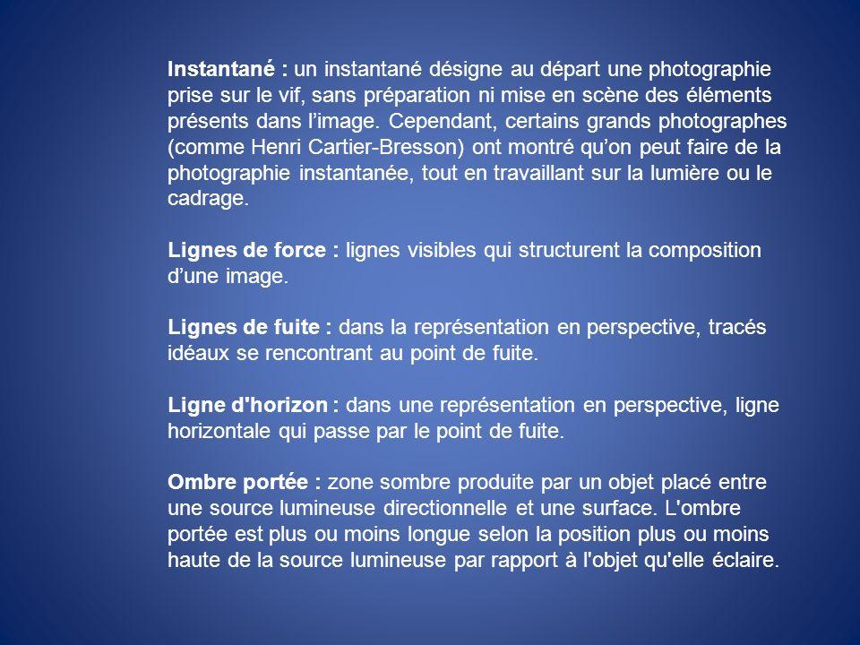 Instantané : un instantané désigne au départ une photographie prise sur le vif, sans préparation ni mise en scène des éléments présents dans limage. C