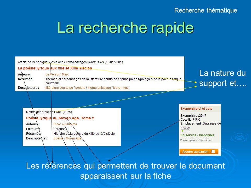 La recherche rapide Les références qui permettent de trouver le document apparaissent sur la fiche La nature du support et….