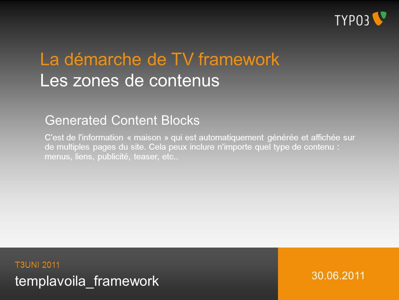 templavoila_framework La démarche de TV framework Les zones de contenus T3UNI 2011 30.06.2011 Generated Content Blocks C est de l information « maison » qui est automatiquement générée et affichée sur de multiples pages du site.