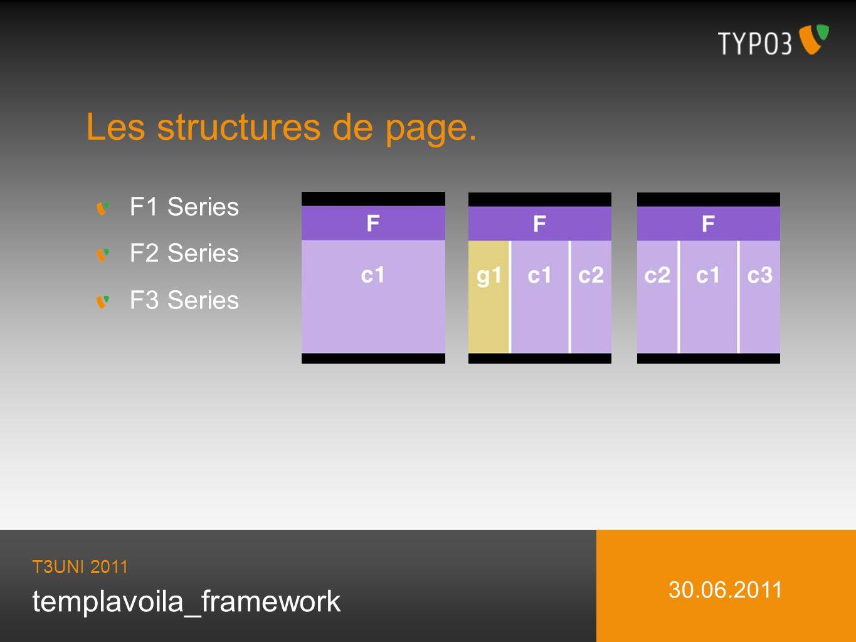 templavoila_framework Les structures de page. T3UNI 2011 30.06.2011 F1 Series F2 Series F3 Series