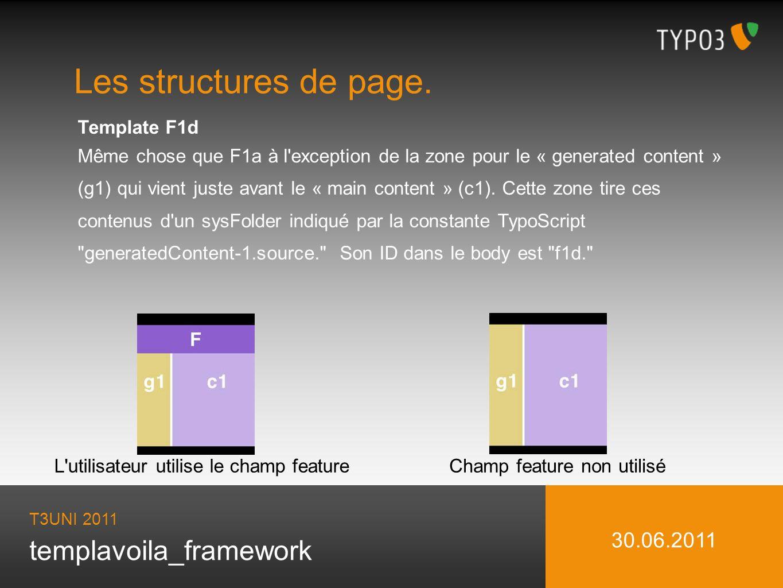 templavoila_framework Les structures de page. T3UNI 2011 30.06.2011 Template F1d Même chose que F1a à l'exception de la zone pour le « generated conte