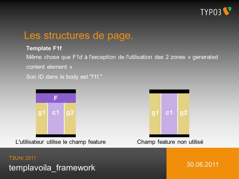 templavoila_framework Les structures de page. T3UNI 2011 30.06.2011 Template F1f Même chose que F1d à l'exception de l'utilisation des 2 zones « gener