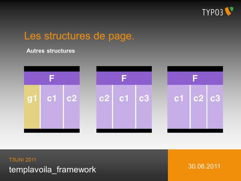 templavoila_framework Les structures de page. T3UNI 2011 30.06.2011 Autres structures