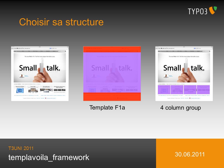 templavoila_framework Choisir sa structure T3UNI 2011 30.06.2011 Template F1a 4 column group