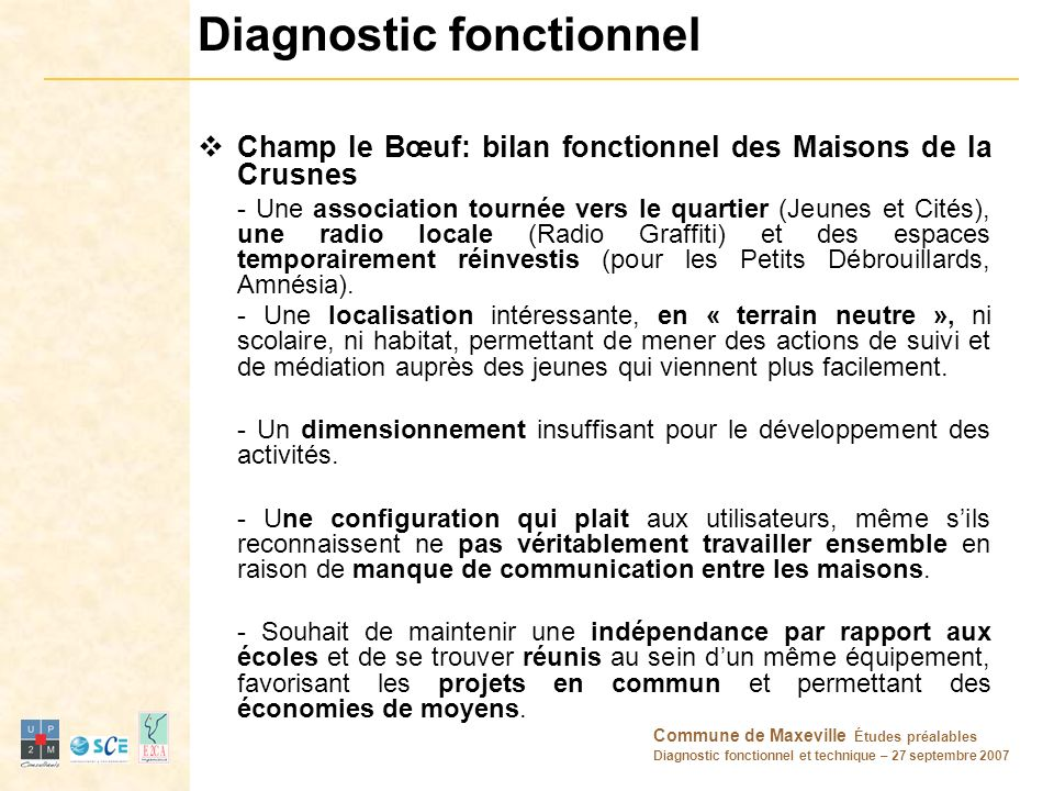 Commune de Maxeville Études préalables Diagnostic fonctionnel et technique – 27 septembre 2007 Diagnostic fonctionnel Champ le Bœuf: bilan fonctionnel