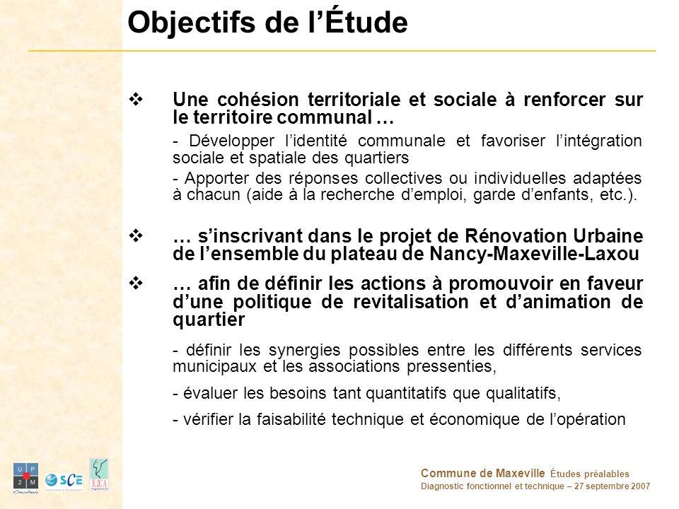 Commune de Maxeville Études préalables Diagnostic fonctionnel et technique – 27 septembre 2007 Objectifs de lÉtude Une cohésion territoriale et social