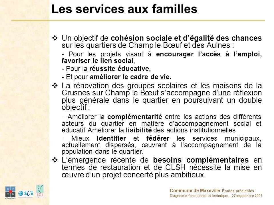 Commune de Maxeville Études préalables Diagnostic fonctionnel et technique – 27 septembre 2007 Les services aux familles Un objectif de cohésion socia