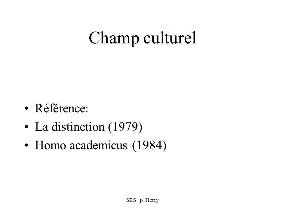 SES p. Herry Champ culturel Référence: La distinction (1979) Homo academicus (1984)