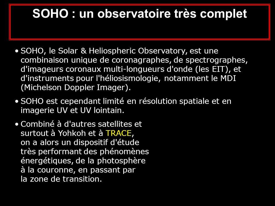 SOHO : un observatoire très complet SOHO, le Solar & Heliospheric Observatory, est une combinaison unique de coronagraphes, de spectrographes, d imageurs coronaux multi-longueurs d onde (les EIT), et d instruments pour l héliosismologie, notamment le MDI (Michelson Doppler Imager).