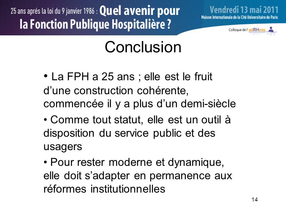 14 Conclusion La FPH a 25 ans ; elle est le fruit dune construction cohérente, commencée il y a plus dun demi-siècle Comme tout statut, elle est un outil à disposition du service public et des usagers Pour rester moderne et dynamique, elle doit sadapter en permanence aux réformes institutionnelles