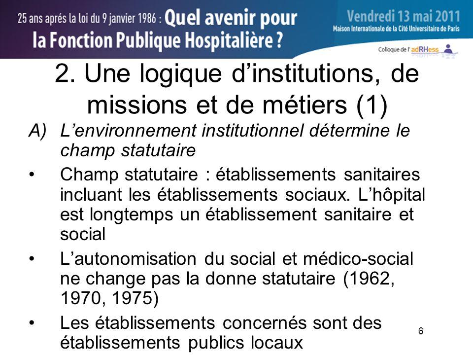 6 2. Une logique dinstitutions, de missions et de métiers (1) A)Lenvironnement institutionnel détermine le champ statutaire Champ statutaire : établis
