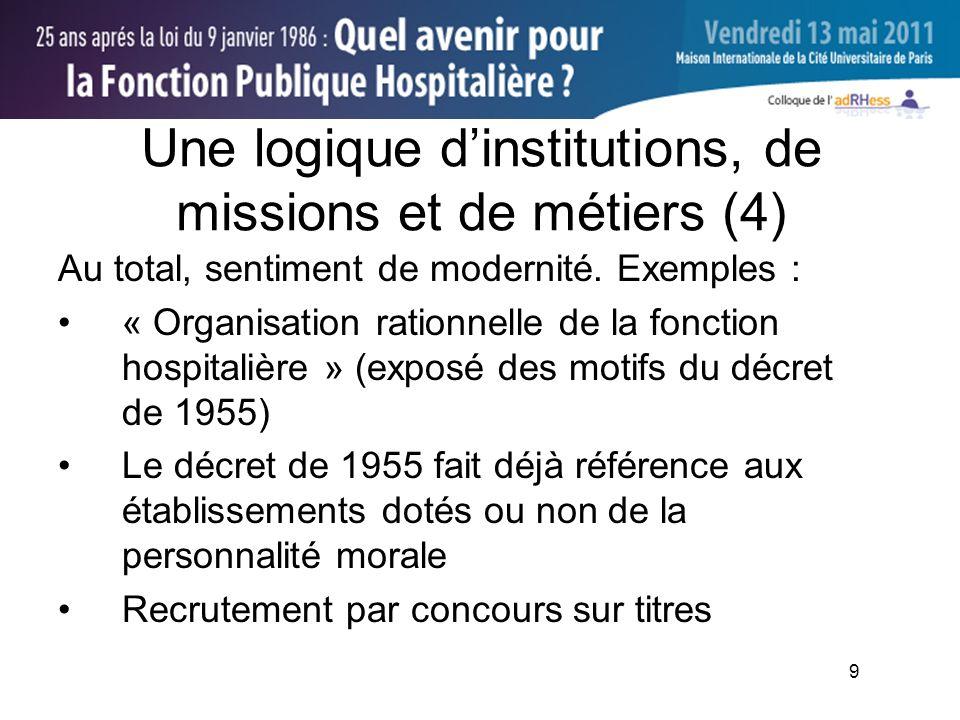 9 Une logique dinstitutions, de missions et de métiers (4) Au total, sentiment de modernité.