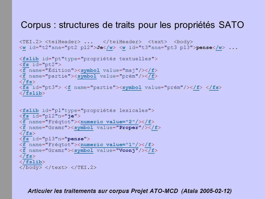 Articuler les traitements sur corpus Projet ATO-MCD (Atala 2005-02-12) Corpus : structures de traits pour les propriétés SATO... Je pense...