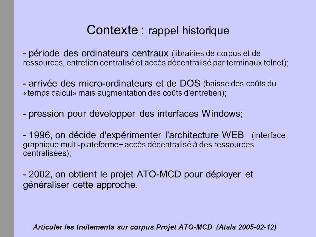 Articuler les traitements sur corpus Projet ATO-MCD (Atala 2005-02-12) Contexte : rappel historique - période des ordinateurs centraux (librairies de