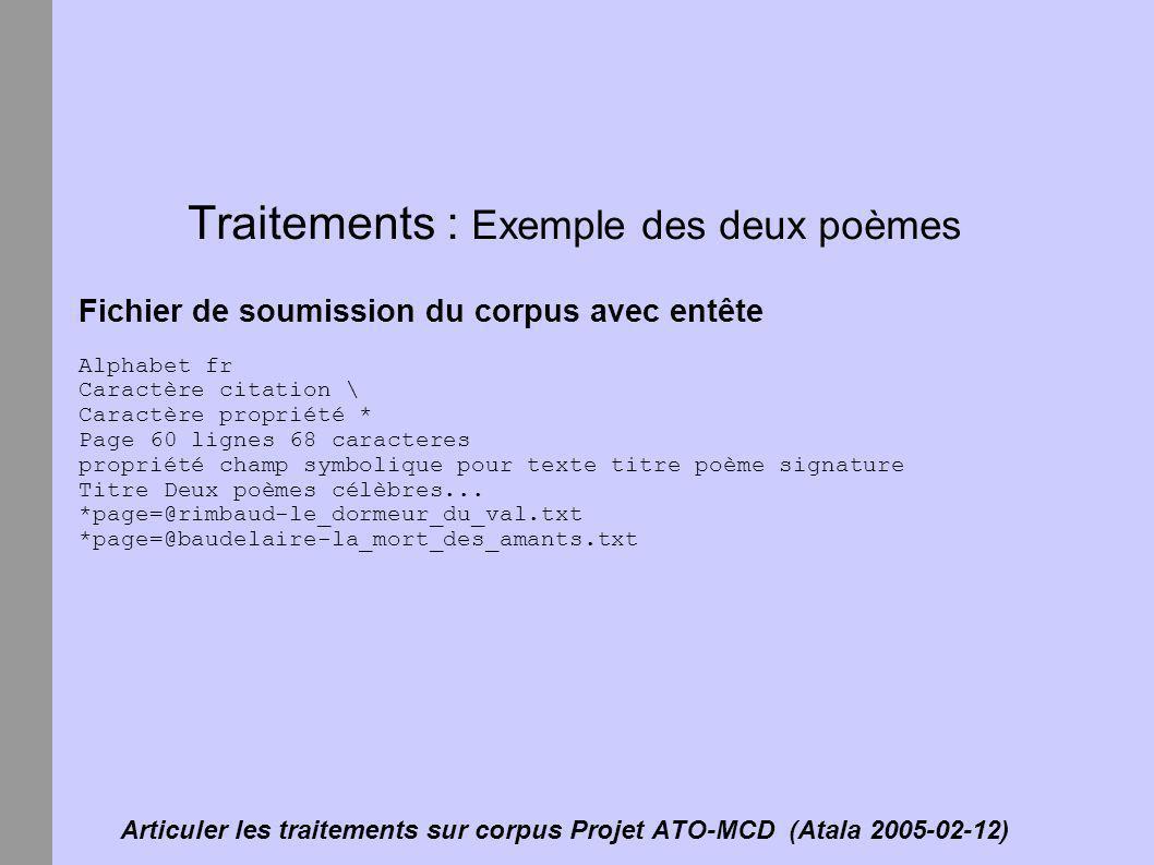 Articuler les traitements sur corpus Projet ATO-MCD (Atala 2005-02-12) Traitements : Exemple des deux poèmes Fichier de soumission du corpus avec entê