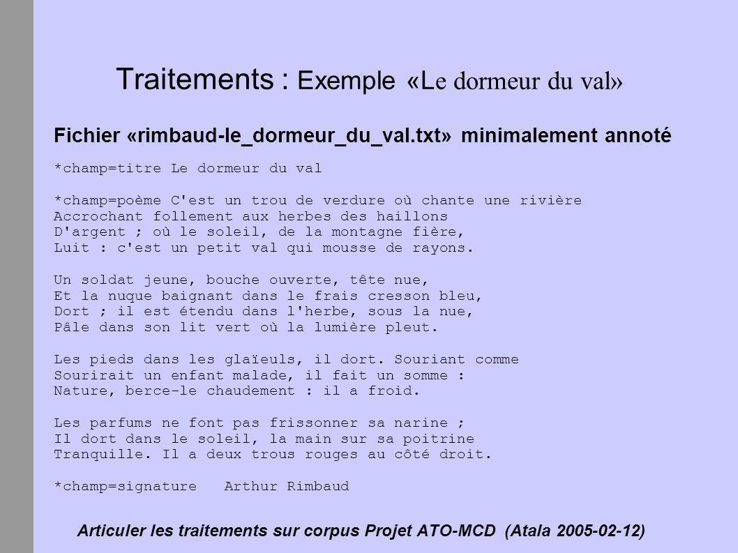 Articuler les traitements sur corpus Projet ATO-MCD (Atala 2005-02-12) Traitements : Exemple «L e dormeur du val» Fichier «rimbaud-le_dormeur_du_val.t