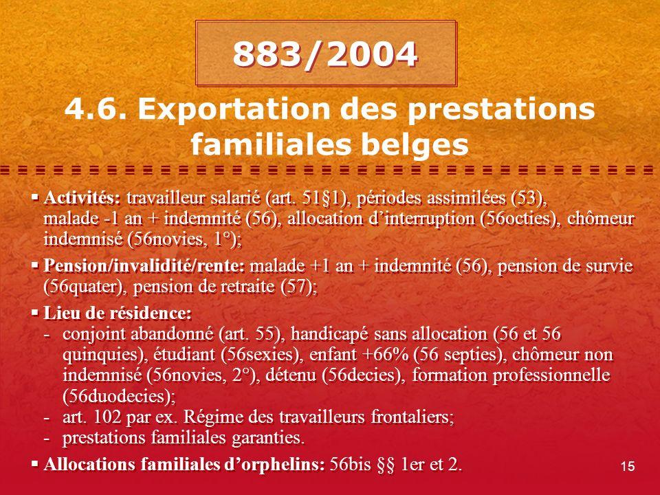 15 4.6. Exportation des prestations familiales belges Activités: travailleur salarié (art.