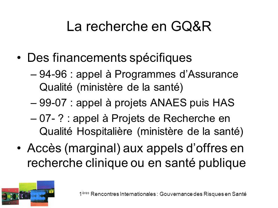 1 ères Rencontres Internationales : Gouvernance des Risques en Santé La recherche en GQ&R Des financements spécifiques –94-96 : appel à Programmes dAssurance Qualité (ministère de la santé) –99-07 : appel à projets ANAES puis HAS –07- .