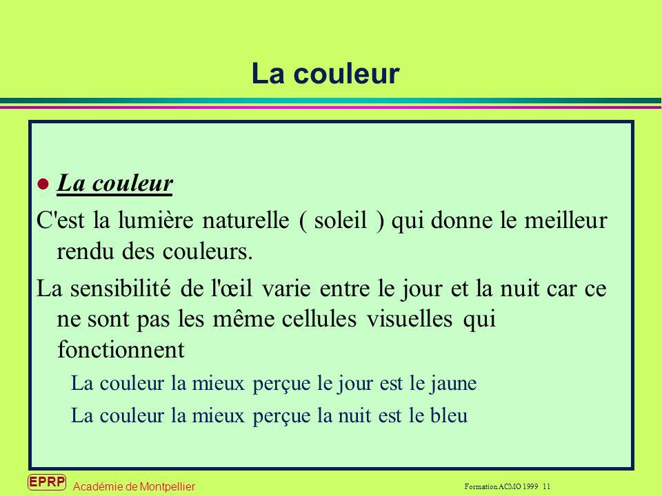 EPRP Formation ACMO 1999 11 Académie de Montpellier La couleur C est la lumière naturelle ( soleil ) qui donne le meilleur rendu des couleurs.