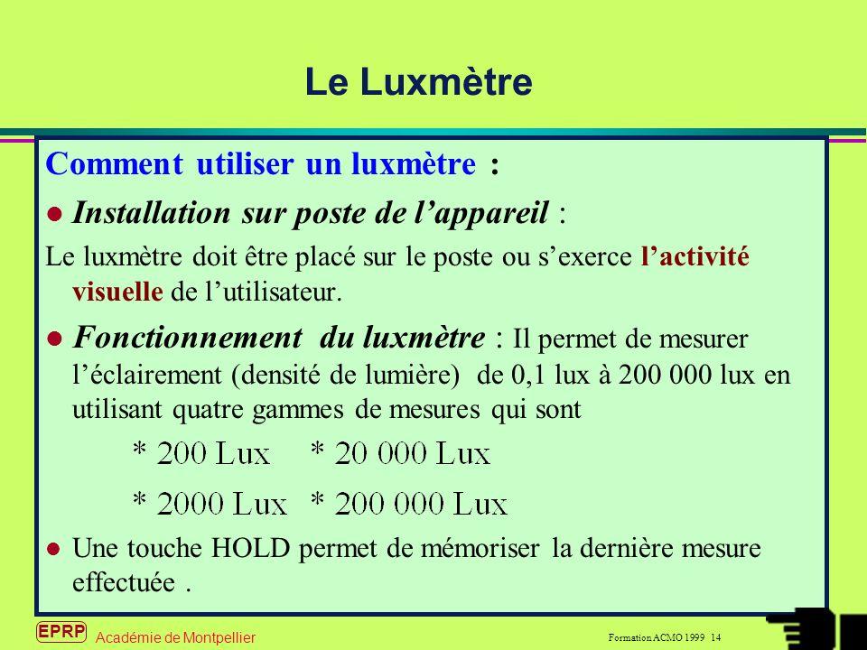 EPRP Formation ACMO 1999 14 Académie de Montpellier Comment utiliser un luxmètre : Installation sur poste de lappareil : Le luxmètre doit être placé sur le poste ou sexerce lactivité visuelle de lutilisateur.