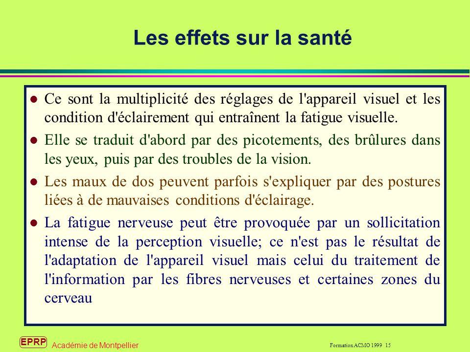 EPRP Formation ACMO 1999 15 Académie de Montpellier Les effets sur la santé l Ce sont la multiplicité des réglages de l appareil visuel et les condition d éclairement qui entraînent la fatigue visuelle.
