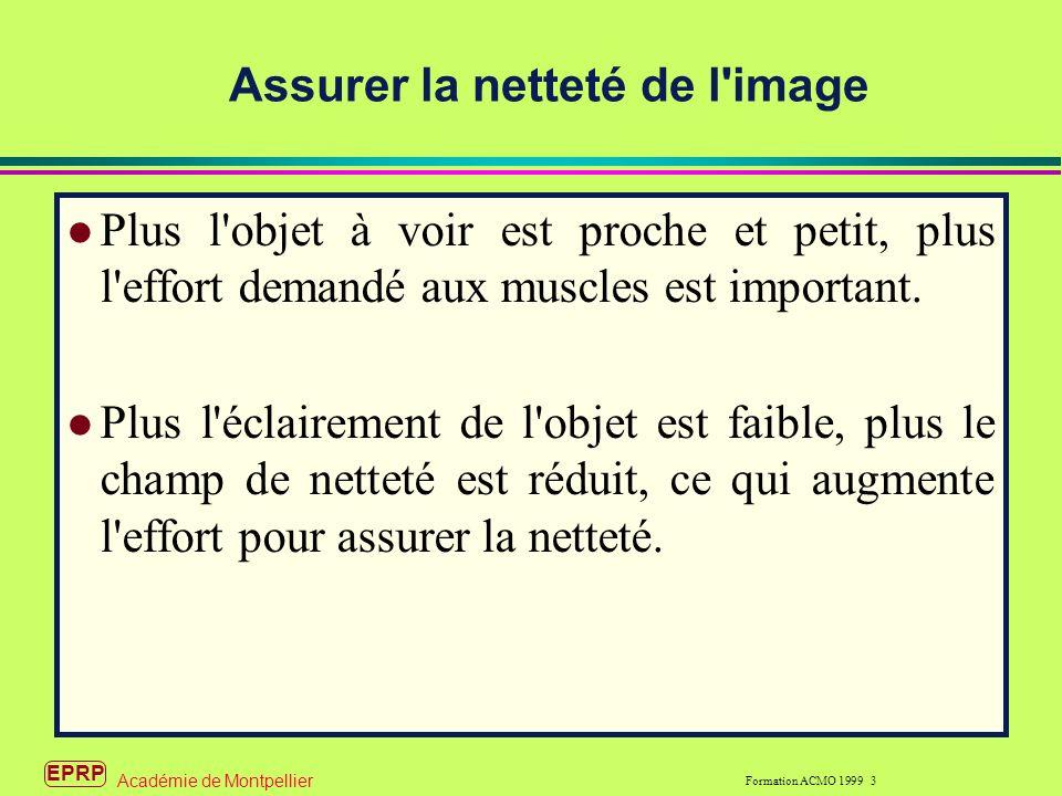 EPRP Formation ACMO 1999 3 Académie de Montpellier Assurer la netteté de l image l Plus l objet à voir est proche et petit, plus l effort demandé aux muscles est important.