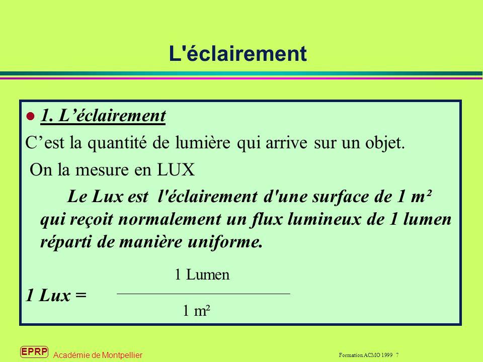 EPRP Formation ACMO 1999 7 Académie de Montpellier L éclairement 1.