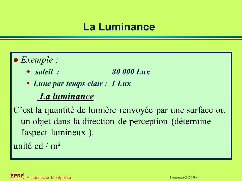 EPRP Formation ACMO 1999 8 Académie de Montpellier Exemple : soleil : 80 000 Lux Lune par temps clair : 1 Lux La luminance Cest la quantité de lumière renvoyée par une surface ou un objet dans la direction de perception (détermine l aspect lumineux ).