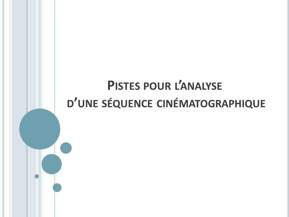 P ISTES POUR L ANALYSE D UNE SÉQUENCE CINÉMATOGRAPHIQUE