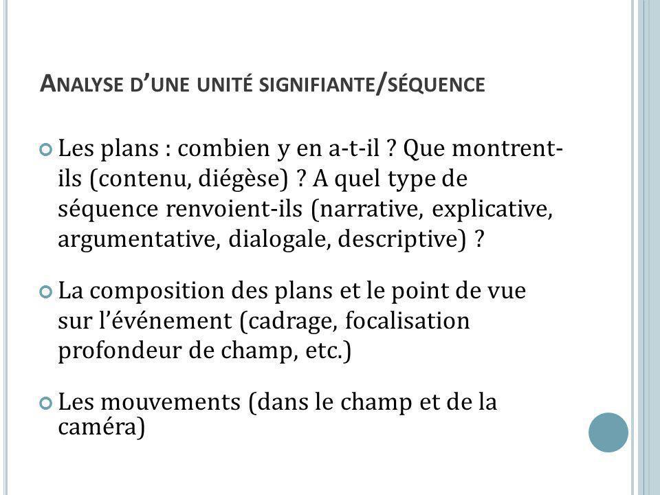 A NALYSE D UNE UNITÉ SIGNIFIANTE / SÉQUENCE Les plans : combien y en a-t-il .