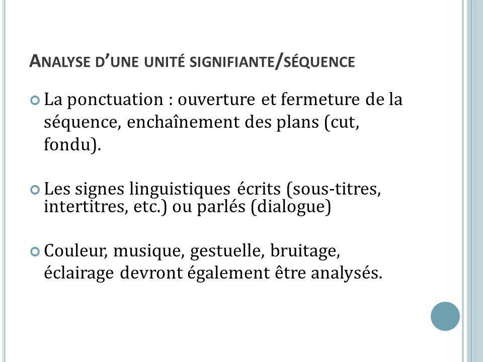 A NALYSE D UNE UNITÉ SIGNIFIANTE / SÉQUENCE La ponctuation : ouverture et fermeture de la séquence, enchaînement des plans (cut, fondu). Les signes li
