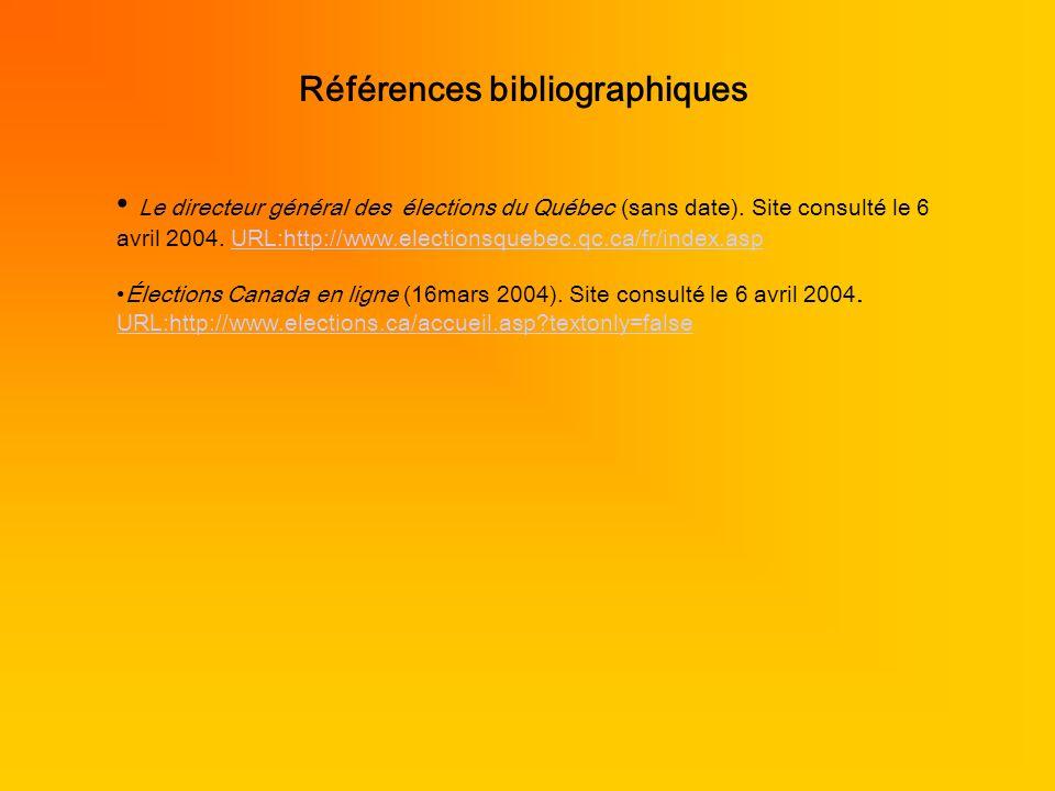 Références bibliographiques Le directeur général des élections du Québec (sans date). Site consulté le 6 avril 2004. URL:http://www.electionsquebec.qc