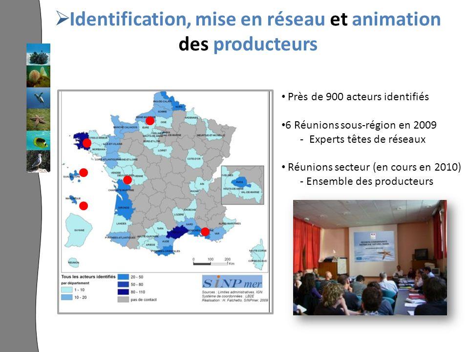 Identification, mise en réseau et animation des producteurs Près de 900 acteurs identifiés 6 Réunions sous-région en 2009 - Experts têtes de réseaux Réunions secteur (en cours en 2010) - Ensemble des producteurs