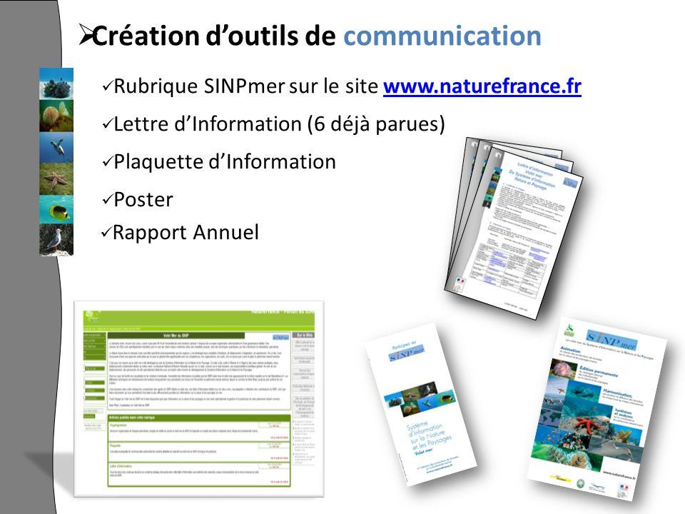 Création doutils de communication Rubrique SINPmer sur le site www.naturefrance.frwww.naturefrance.fr Lettre dInformation (6 déjà parues) Plaquette dInformation Poster Rapport Annuel