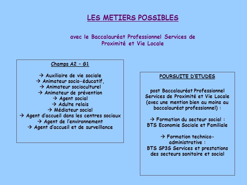 LES METIERS POSSIBLES avec le Baccalauréat Professionnel Services de Proximité et Vie Locale Champs A2 – G1 Auxiliaire de vie sociale Animateur socio-